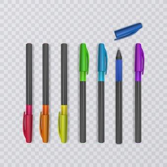 Realistische stifte mit regenbogenfarben.