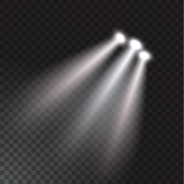 Realistische strahllichter auf transparentem hintergrund.