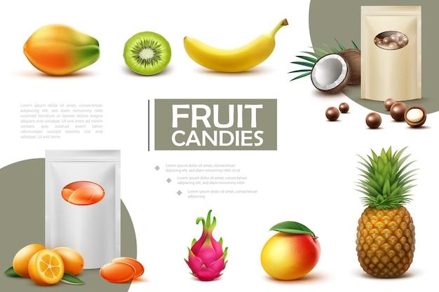 Realistische süße fruchtbonbonzusammensetzung mit beuteln der schokoladenkugeln und der papaya-kiwi-bananen-kokosnuss-ananas-mango-kumquat-drachenfruchtillustration der bonbons