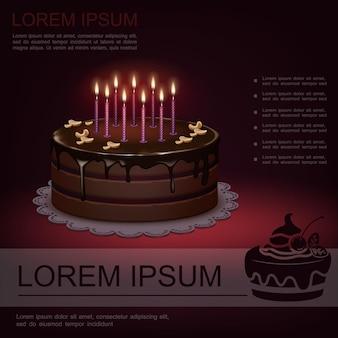 Realistische süße geburtstagsfestschablone mit schokoladenkuchen und brennender kerzenillustration