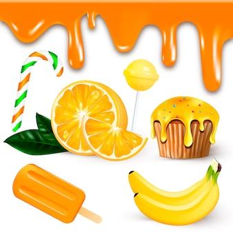 Realistische süßigkeiten, früchte und eis-orange