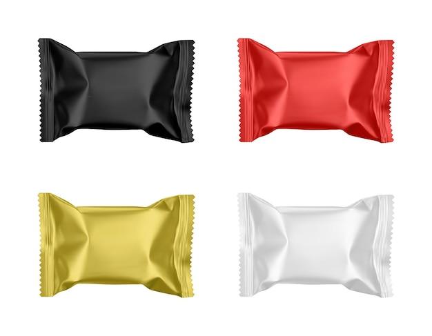 Realistische süßigkeiten packt verschiedene farbmodell-set vektor-leere vorlage isoliert auf weißem hintergrund Premium Vektoren