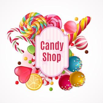 Realistische süßigkeiten rahmen hintergrund