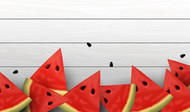 Realistische süßwassermelonenscheiben und -samen.