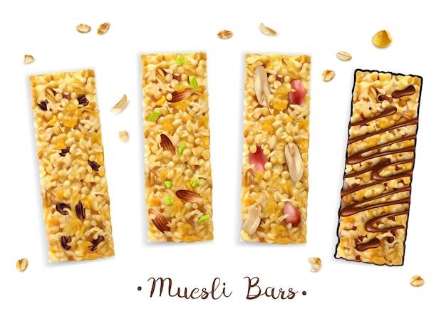 Realistische superfood müsliriegelzusammensetzung mit satz von vier rechteckigen stäben mit verschiedenen belägen und text