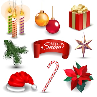 Realistische symbole der weihnachtsneujahrsfeiertagsdekoration setzen illustration