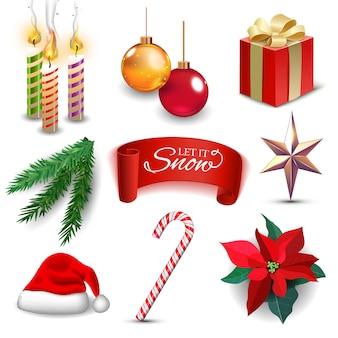 Realistische symbole der weihnachtsneujahrsfeiertagsdekoration stellten isolierte illustration ein