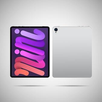 Realistische tablet-pc-vektorillustration im trendigen dünnen rahmendesign mit vorder- und rückseitenansicht