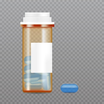 Realistische tablettenflasche. modell für die verpackung von pharmazeutischen produkten.