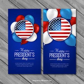 Realistische tag des präsidenten banner mit luftballons