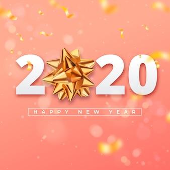 Realistische tapete des neuen jahres 2020 mit goldenem geschenkbogen