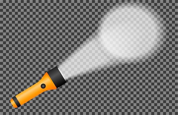 Realistische taschenlampe leuchtet an der wand
