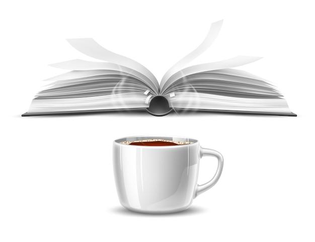 Realistische tasse heißes getränk kaffee oder tee mit dampf nahe offenem buch