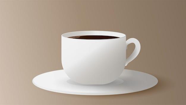 Realistische tasse mit kaffee. weiße tasse auf einer untertassen-seitenansicht. espresso lokalisiert auf einem weißen hintergrund.
