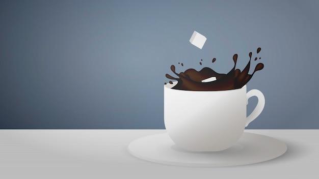 Realistische tasse mit spritzer kaffee auf grauem hintergrund. zuckerwürfel fallen aus einer tasse kaffee.