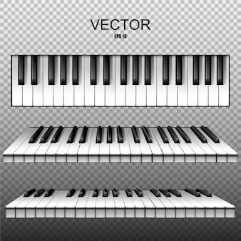 Realistische tasten eines klaviers, synthesizers. .