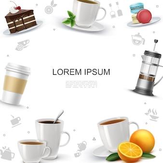 Realistische teezeitschablone mit kuchenstückmakronen französischer presseorangen-minzeblatt-tee und kaffeetassen