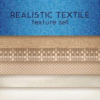 Realistische textilbeschaffenheits-horizontales set