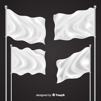 Realistische textilflaggensammlung