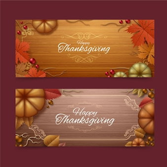 Realistische thanksgiving-banner-vorlage