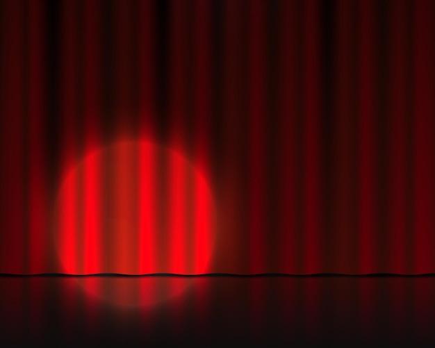 Realistische theaterbühne. rote samtvorhänge und scheinwerferbeleuchtung. zirkus- oder kinotuch. vektor isolierter 3d-theaterhintergrund