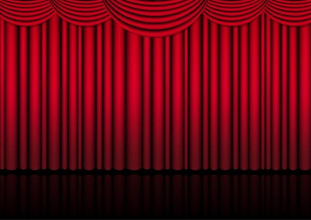 Realistische theaterbühneninnenhalle mit einer roten vorhangillustration.