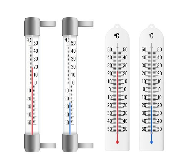 Realistische thermometer eingestellt. außen und innen