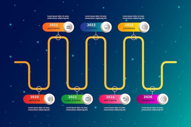 Realistische timeline-infografik