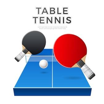 Realistische tischtennisraketen mit ball und tisch