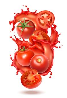 Realistische tomatensaft-spritzenzusammensetzung mit scheiben und ganzen früchten der tomate mit flüssigen saftspritzern