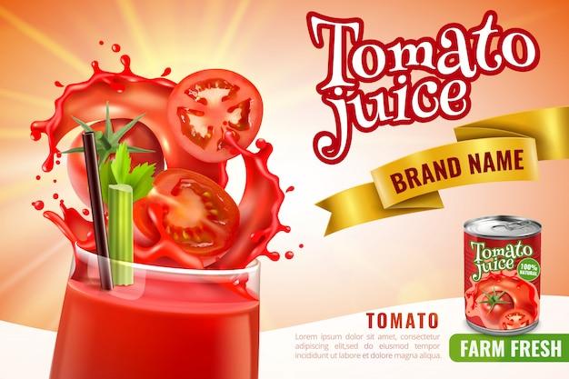 Realistische tomatensaftzusammensetzung mit dem glas, das mit rotem cocktail mit gefüllt wird, spritzt und editable text