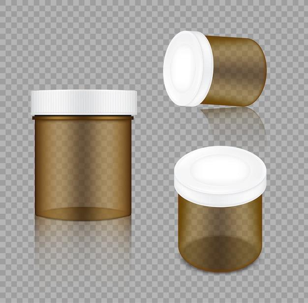 Realistische transparente amber jar-verpackung