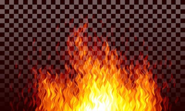 Realistische transparente feuerflammen auf schwarzem hintergrund