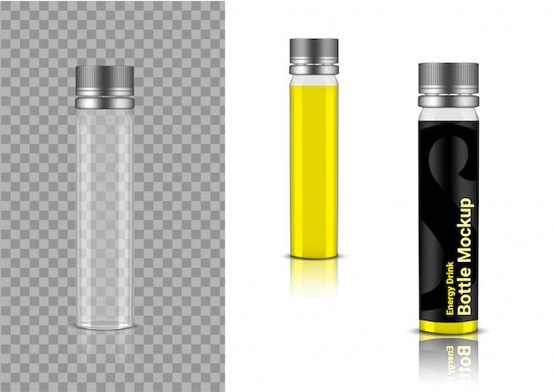 Realistische transparente flasche enerygy drink oder vitamin-produktverpackung