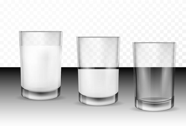 Realistische transparente gläser für milch