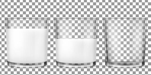 Realistische transparente gläser