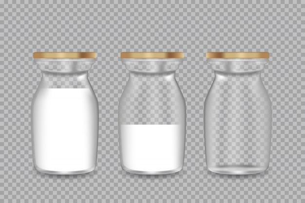 Realistische transparente glasflasche mit einer milch. illustration.