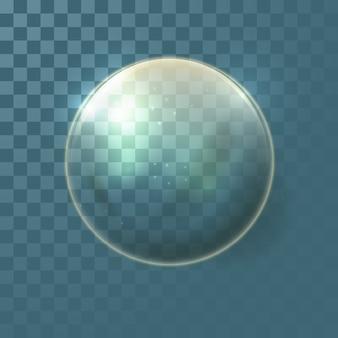 Realistische transparente glaskugel mit gelber tönung.