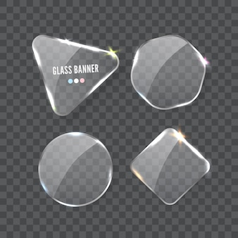 Realistische transparente glasplattenformen, die auf probenhintergrund isoliert eingestellt werden. web-banner-vorlagen mit platz für text
