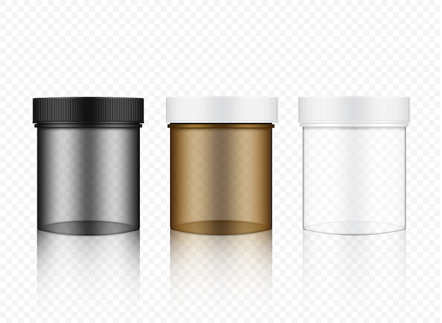 Realistische transparente glasverpackung
