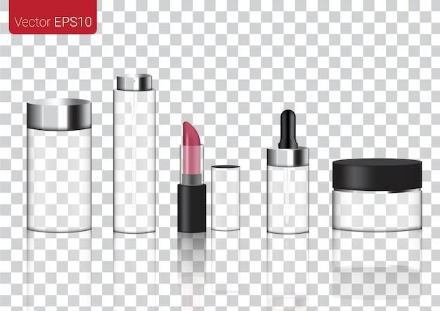 Realistische transparente glasverpackungsprodukte für kosmetik