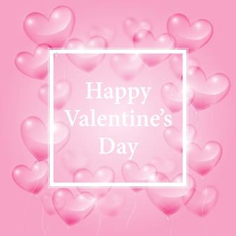 Realistische transparente herzen und glücklicher valentinsgruß-tag auf rosa hintergrund