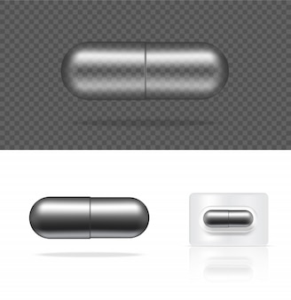 Realistische transparente pille-metallische medizin-kapsel