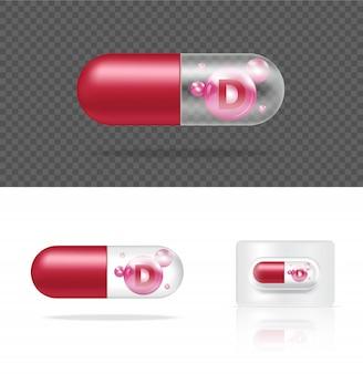 Realistische transparente pille vitamin d medizin kapsel panel auf weißem hintergrund illustration. tablets medizin- und gesundheitskonzept.