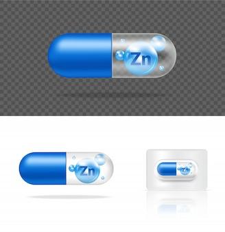 Realistische transparente pille vitamin zink medizin kapsel panel auf weißem hintergrund illustration. tablets medizin- und gesundheitskonzept.