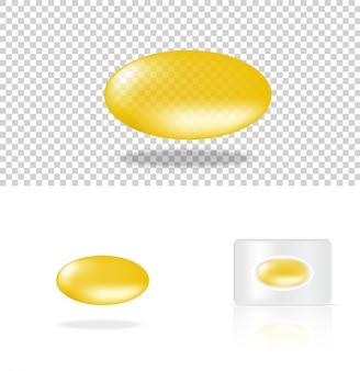 Realistische transparente pillen-gelb-medizin-platte
