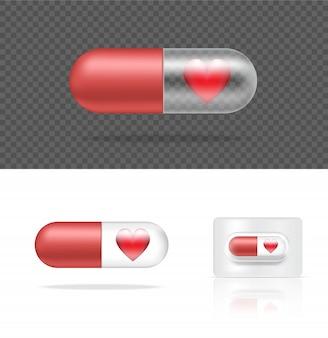 Realistische transparente pillen-medizin-kapsel-platte mit herzen