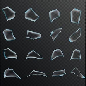 Realistische transparente scherben von glasscherben auf karierter hintergrundillustration.