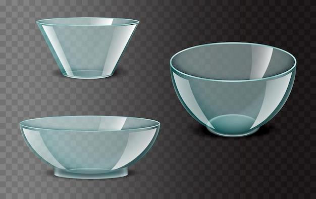 Realistische transparente schüssel glaskeramik utensilien glasgeschirr lebensmittelbehälter