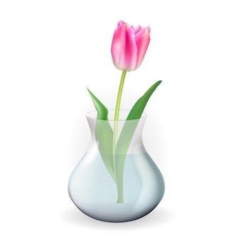 Realistische transparente vase aus 3d-glas mit tulpenblume. gestaltungselement für plakat, grußkarte.